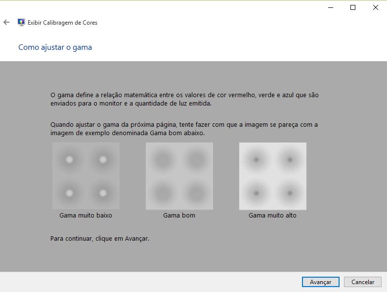 Tela de ajuste de gama do utilitário de regulagem de monitor do Windows 10